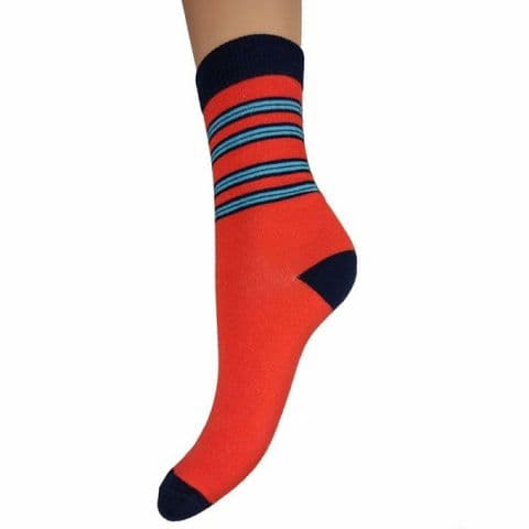 Bright Red with Blue Stripe Bamboo Socks